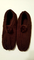 Brown Knit Slippers